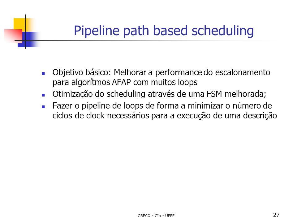 GRECO - CIn - UFPE 27 Pipeline path based scheduling Objetivo básico: Melhorar a performance do escalonamento para algorítmos AFAP com muitos loops Ot