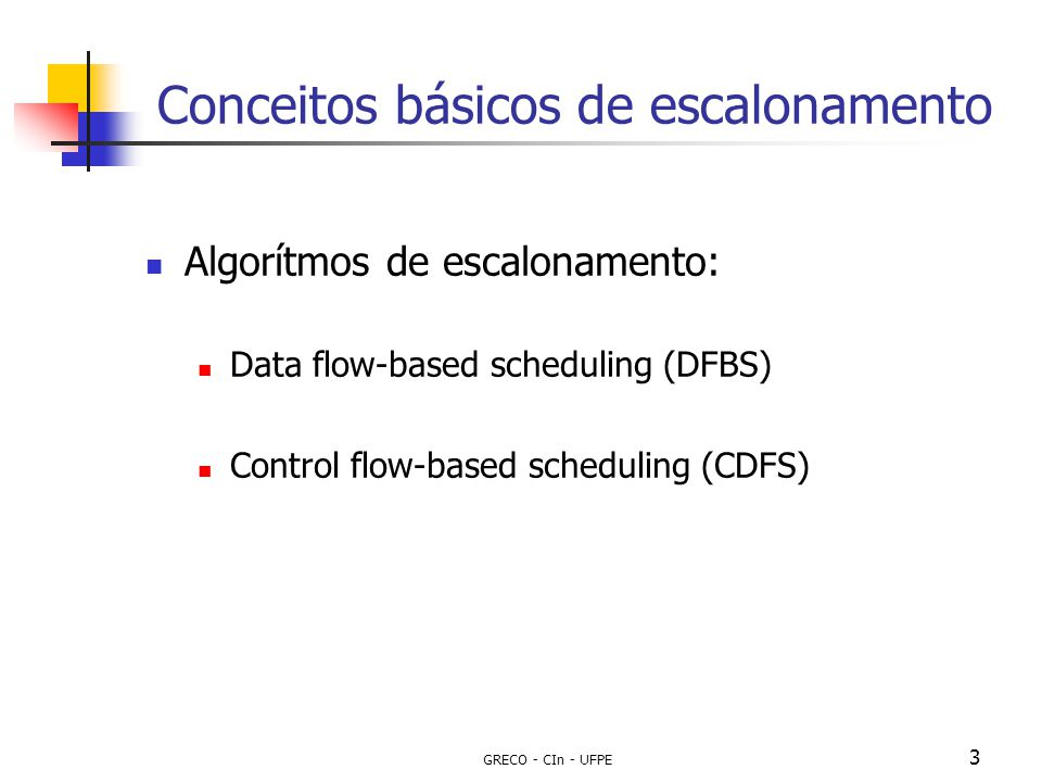 GRECO - CIn - UFPE 14 Escalonamento com restrição de recursos Algoritmo de Hu [1] (List scheduling) Utiliza um List scheduling (Lista de operações prontas ): Para cada step de controle, as operações disponíveis para serem escalonadas são mantidas em uma lista; Utiliza Função de priorização => (A operação pronta de maior prioridade é escolhida para no step de controle): A duração do path partindo da operação até o fim do bloco; Mobilidade: O n o de steps de controle partindo do mais recente ao último step de controle possível.