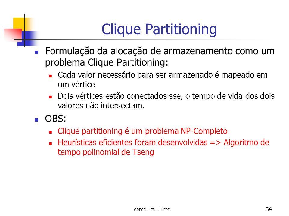 GRECO - CIn - UFPE 34 Clique Partitioning Formulação da alocação de armazenamento como um problema Clique Partitioning: Cada valor necessário para ser