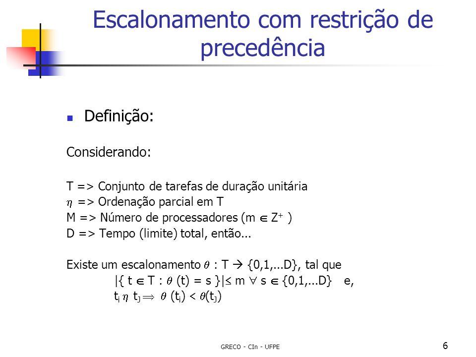 GRECO - CIn - UFPE 6 Escalonamento com restrição de precedência Definição: Considerando: T => Conjunto de tarefas de duração unitária  => Ordenação p