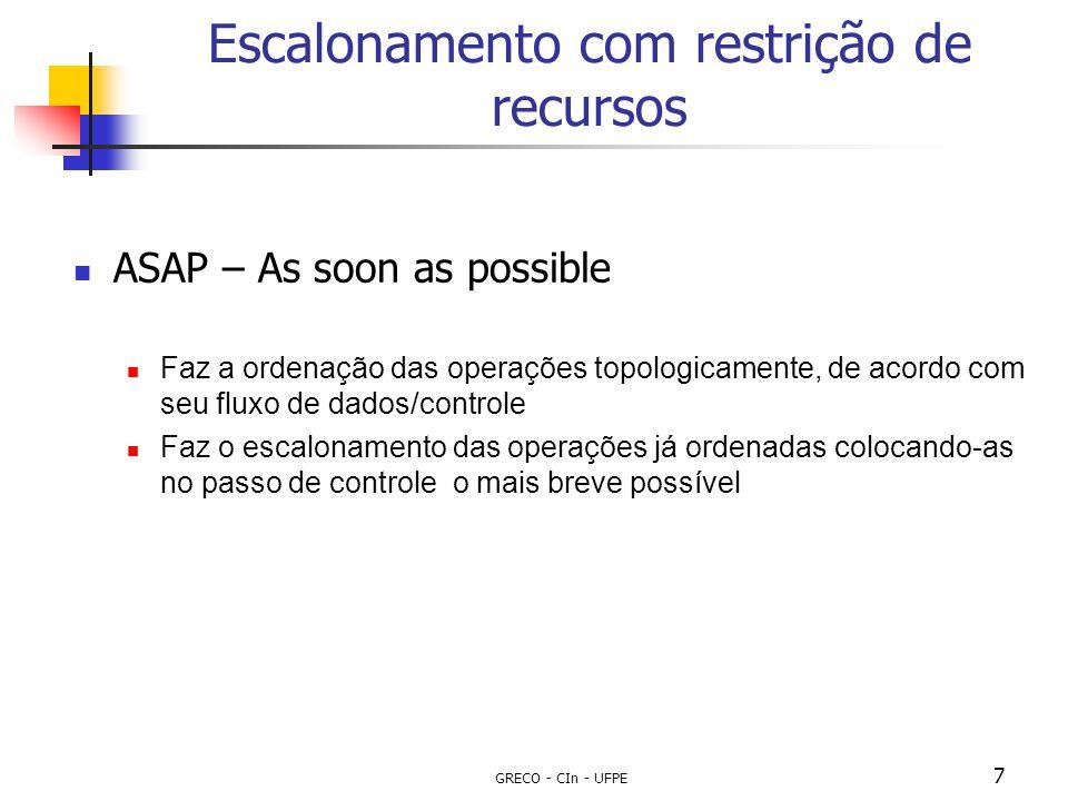 GRECO - CIn - UFPE 7 Escalonamento com restrição de recursos ASAP – As soon as possible Faz a ordenação das operações topologicamente, de acordo com s