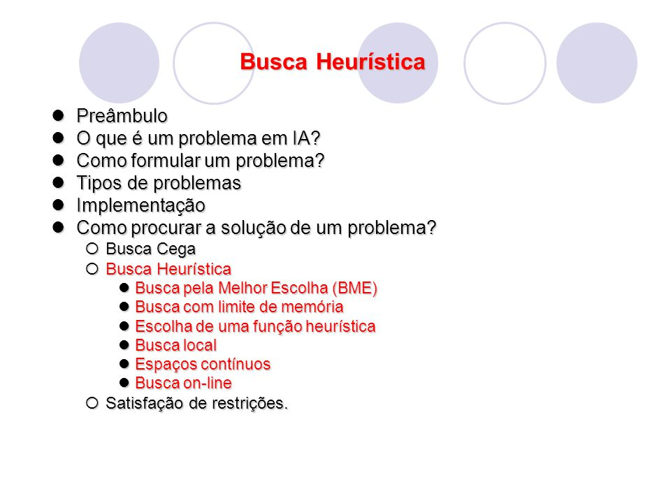 Busca Heurística Busca Heurística : Subida da Encosta O algoritmo move-se sempre na direção que apresenta maior taxa de variação para f Isso pode acarretar em 3 problemas: 1.