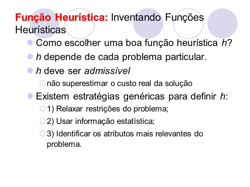Função Heurística: Função Heurística: Inventando Funções Heurísticas Como escolher uma boa função heurística h? h depende de cada problema particular.