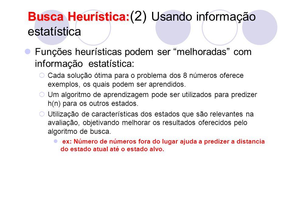 """Busca Heurística: Busca Heurística: (2) Usando informação estatística Funções heurísticas podem ser """"melhoradas"""" com informação estatística:  Cada so"""