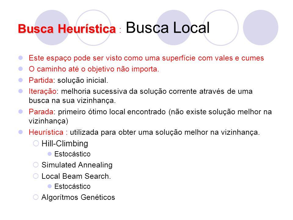Busca Heurística Busca Heurística : Busca Local Este espaço pode ser visto como uma superfície com vales e cumes O caminho até o objetivo não importa.