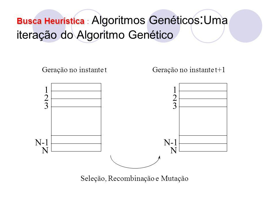 Busca Heurística Busca Heurística : Algoritmos Genéticos : Uma iteração do Algoritmo Genético 1 2 3 N-1 N 1 2 3 N Geração no instante tGeração no inst
