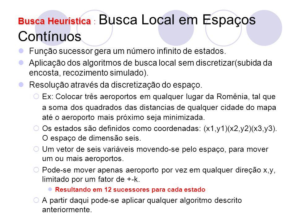 Busca Heurística Busca Heurística : Busca Local em Espaços Contínuos Função sucessor gera um número infinito de estados. Aplicação dos algoritmos de b