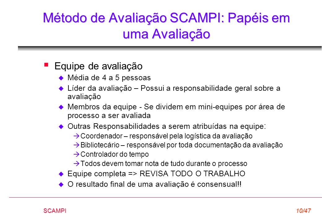 SCAMPI10/47 Método de Avaliação SCAMPI: Papéis em uma Avaliação  Equipe de avaliação  Média de 4 a 5 pessoas  Líder da avaliação – Possui a respons