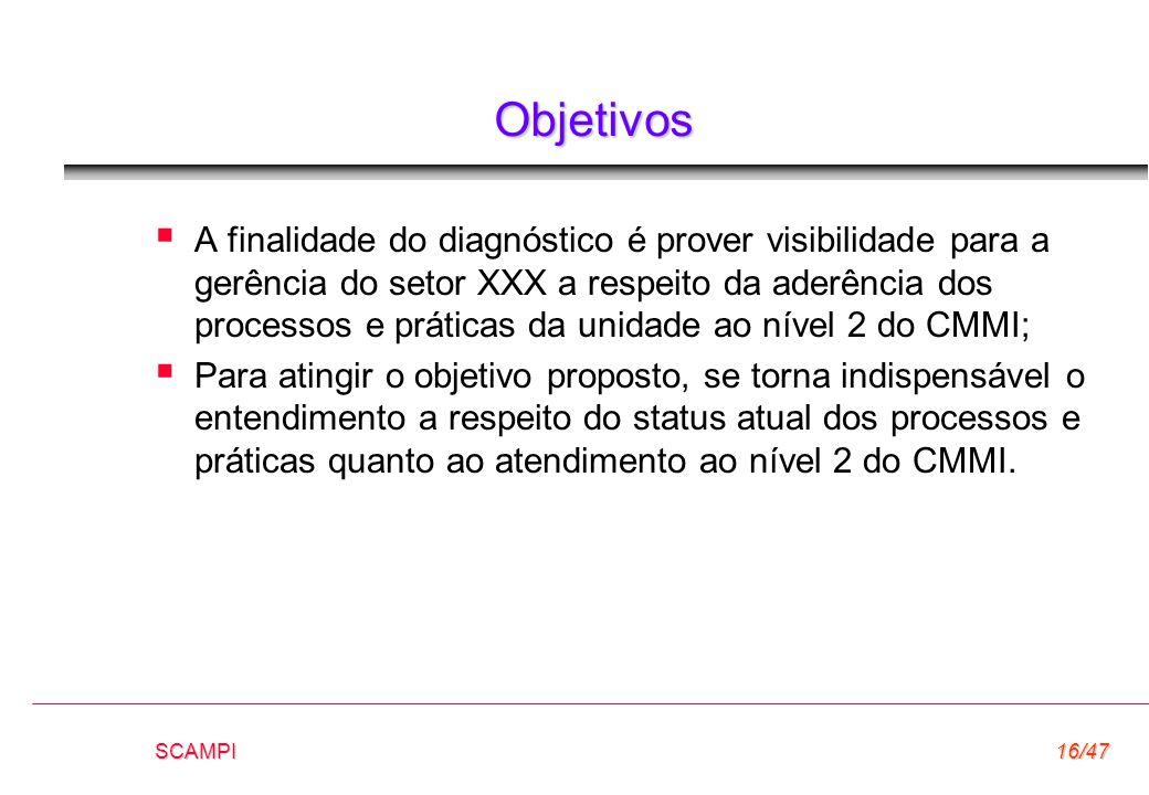 SCAMPI16/47 Objetivos  A finalidade do diagnóstico é prover visibilidade para a gerência do setor XXX a respeito da aderência dos processos e prática