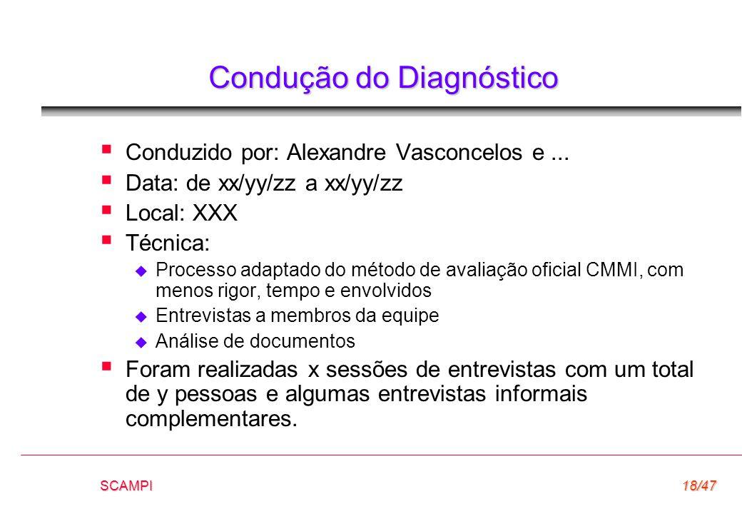 SCAMPI18/47 Condução do Diagnóstico  Conduzido por: Alexandre Vasconcelos e...  Data: de xx/yy/zz a xx/yy/zz  Local: XXX  Técnica:  Processo adap