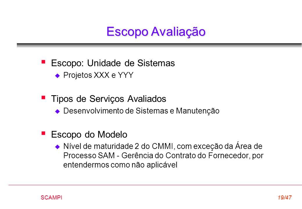 SCAMPI19/47 Escopo Avaliação  Escopo: Unidade de Sistemas  Projetos XXX e YYY  Tipos de Serviços Avaliados  Desenvolvimento de Sistemas e Manutenç