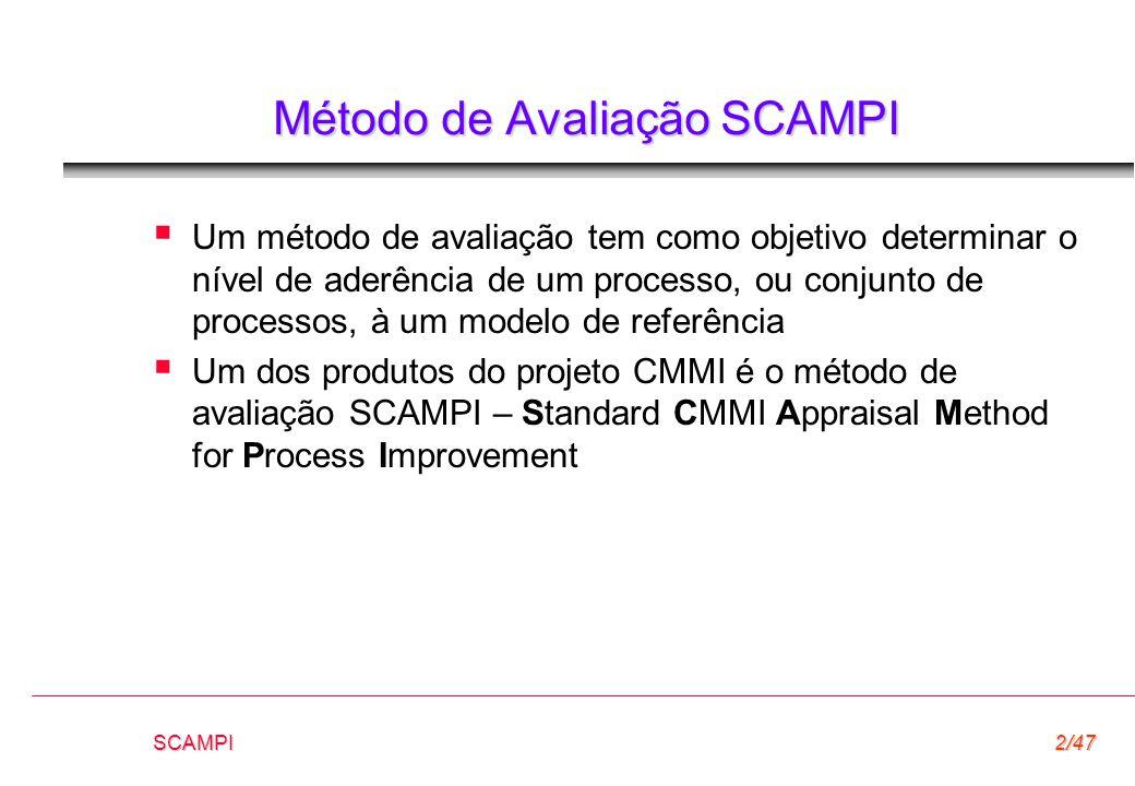 SCAMPI2/47 Método de Avaliação SCAMPI  Um método de avaliação tem como objetivo determinar o nível de aderência de um processo, ou conjunto de proces