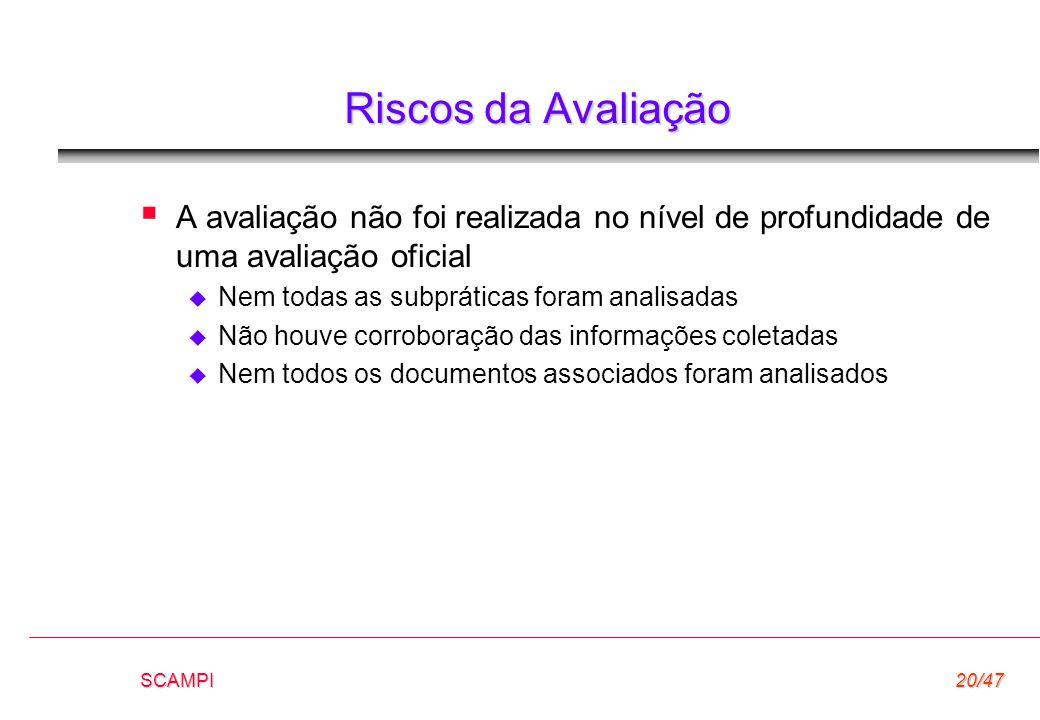SCAMPI20/47 Riscos da Avaliação  A avaliação não foi realizada no nível de profundidade de uma avaliação oficial  Nem todas as subpráticas foram ana