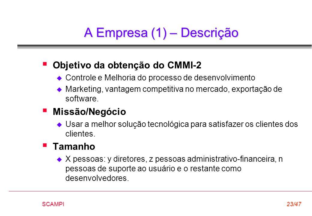 SCAMPI23/47 A Empresa (1) – Descrição  Objetivo da obtenção do CMMI-2  Controle e Melhoria do processo de desenvolvimento  Marketing, vantagem comp