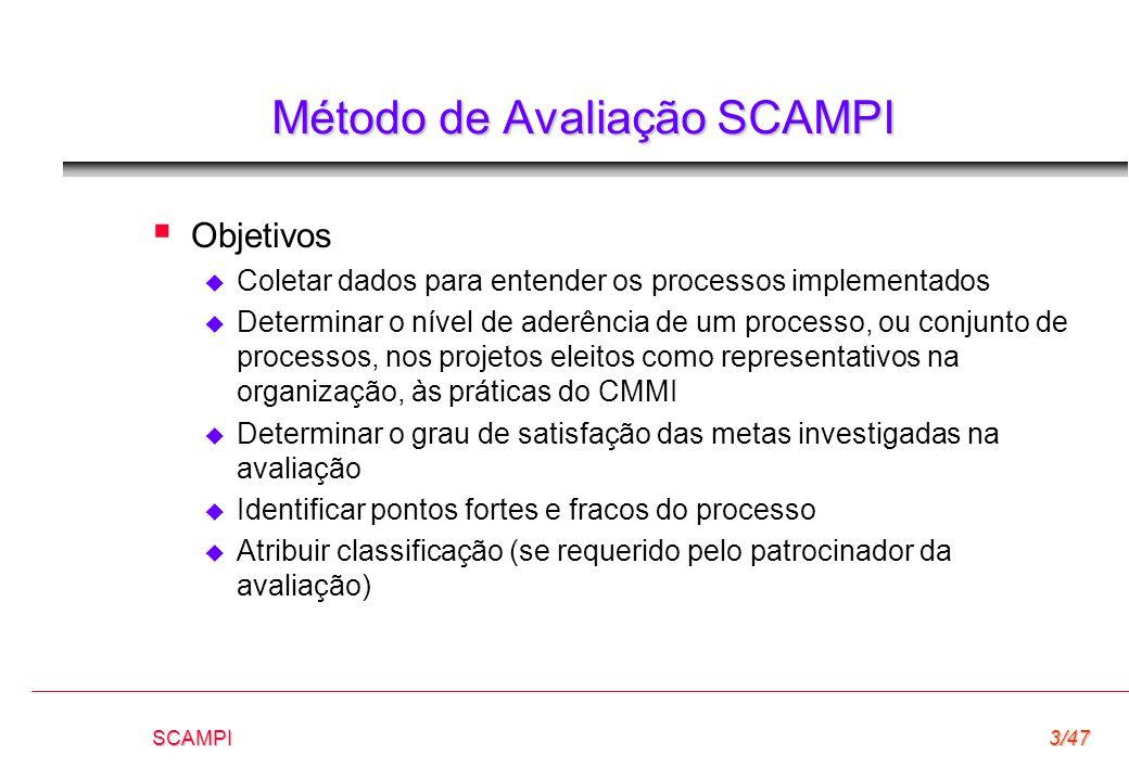 SCAMPI3/47 Método de Avaliação SCAMPI  Objetivos  Coletar dados para entender os processos implementados  Determinar o nível de aderência de um pro