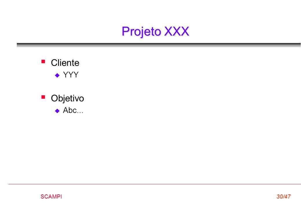 SCAMPI30/47 Projeto XXX  Cliente  YYY  Objetivo  Abc...