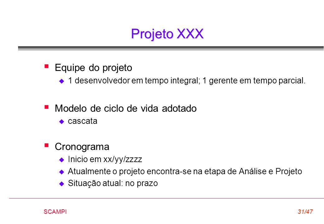 SCAMPI31/47 Projeto XXX  Equipe do projeto  1 desenvolvedor em tempo integral; 1 gerente em tempo parcial.  Modelo de ciclo de vida adotado  casca