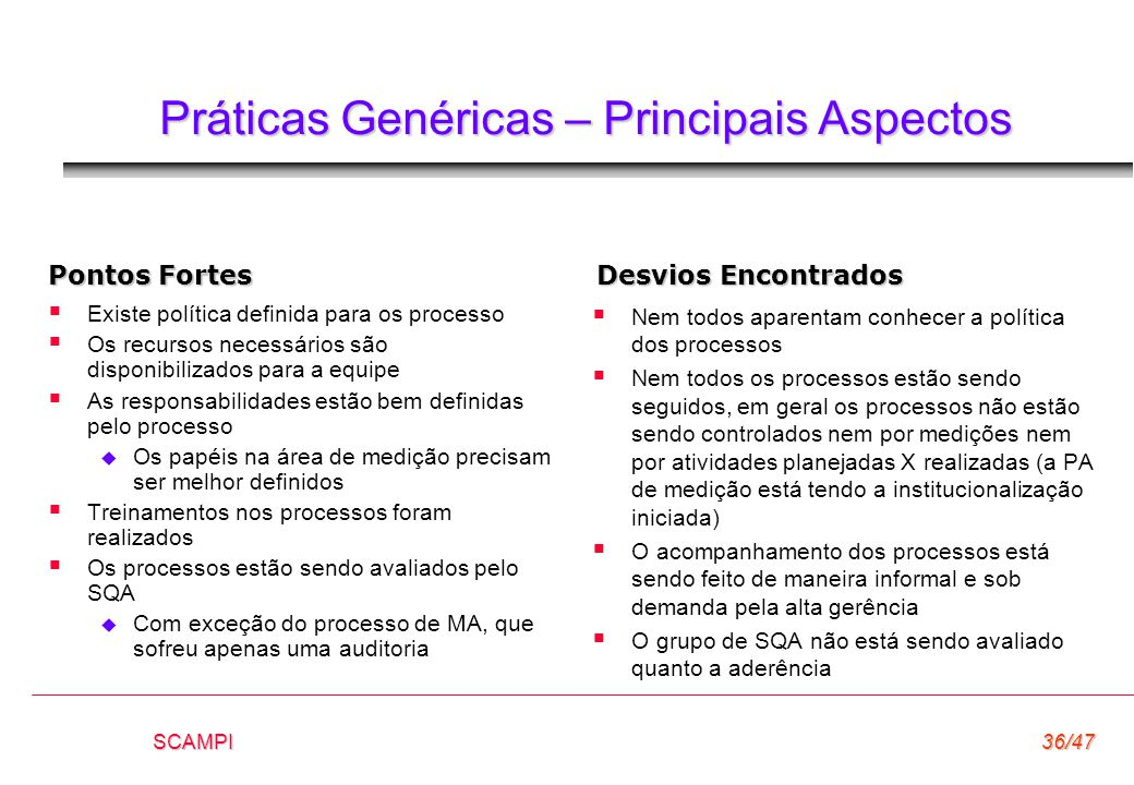 SCAMPI36/47 Práticas Genéricas – Principais Aspectos  Existe política definida para os processo  Os recursos necessários são disponibilizados para a