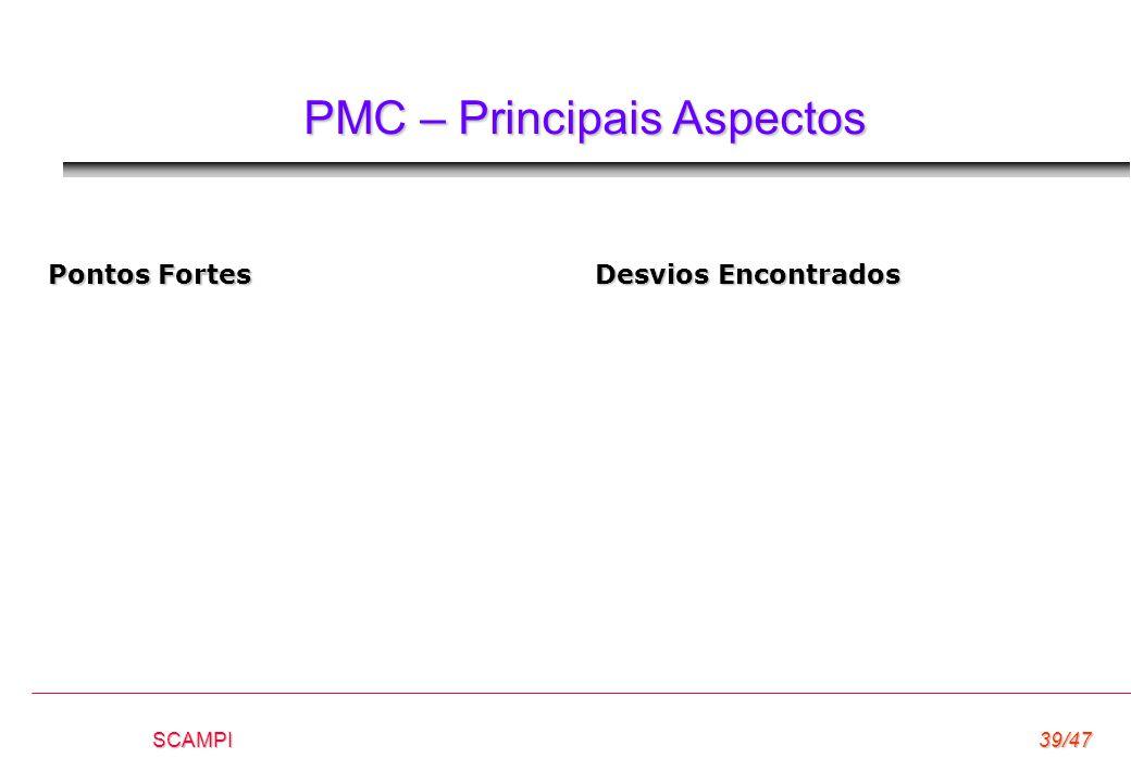 SCAMPI39/47 PMC – Principais Aspectos Pontos Fortes Desvios Encontrados