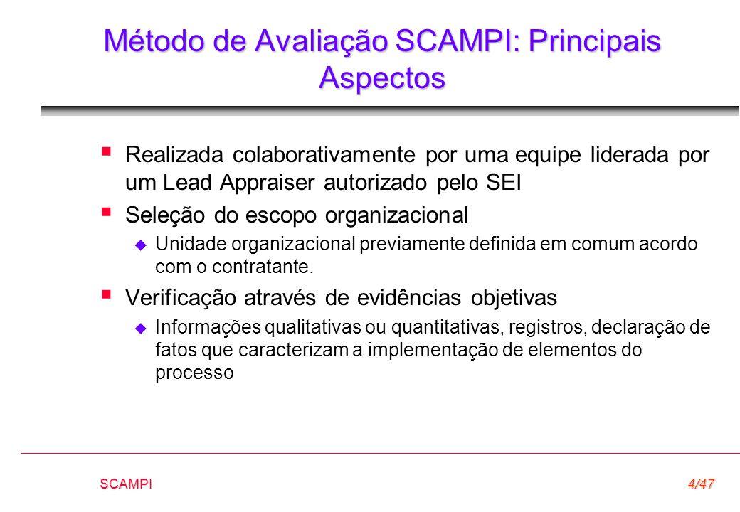 SCAMPI4/47 Método de Avaliação SCAMPI: Principais Aspectos  Realizada colaborativamente por uma equipe liderada por um Lead Appraiser autorizado pelo