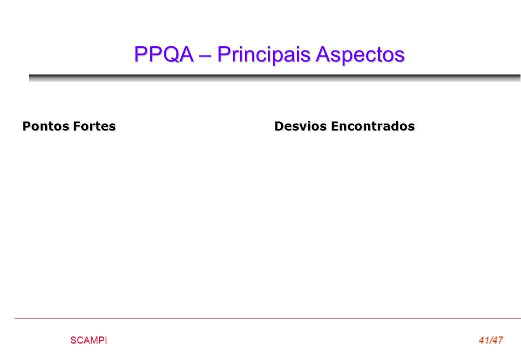 SCAMPI41/47 PPQA – Principais Aspectos Pontos Fortes Desvios Encontrados