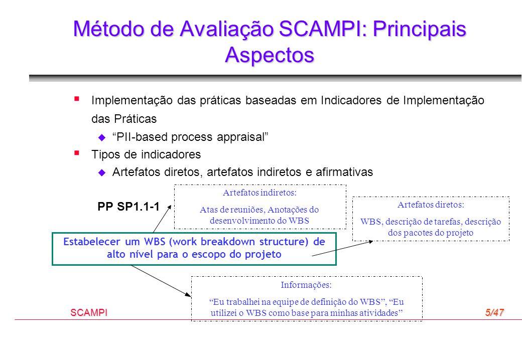 """SCAMPI5/47 Método de Avaliação SCAMPI: Principais Aspectos  Implementação das práticas baseadas em Indicadores de Implementação das Práticas  """"PII-b"""