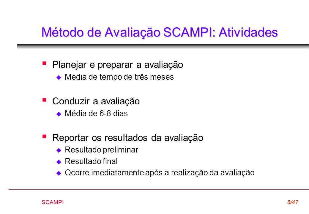 SCAMPI8/47 Método de Avaliação SCAMPI: Atividades  Planejar e preparar a avaliação  Média de tempo de três meses  Conduzir a avaliação  Média de 6