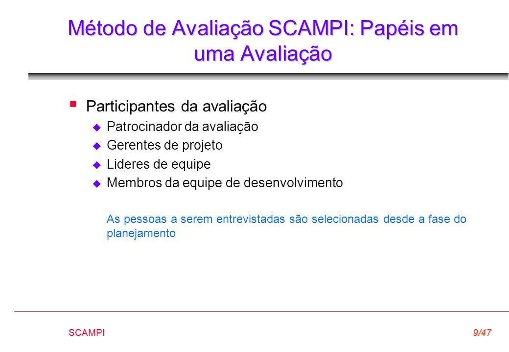SCAMPI9/47 Método de Avaliação SCAMPI: Papéis em uma Avaliação  Participantes da avaliação  Patrocinador da avaliação  Gerentes de projeto  Lidere