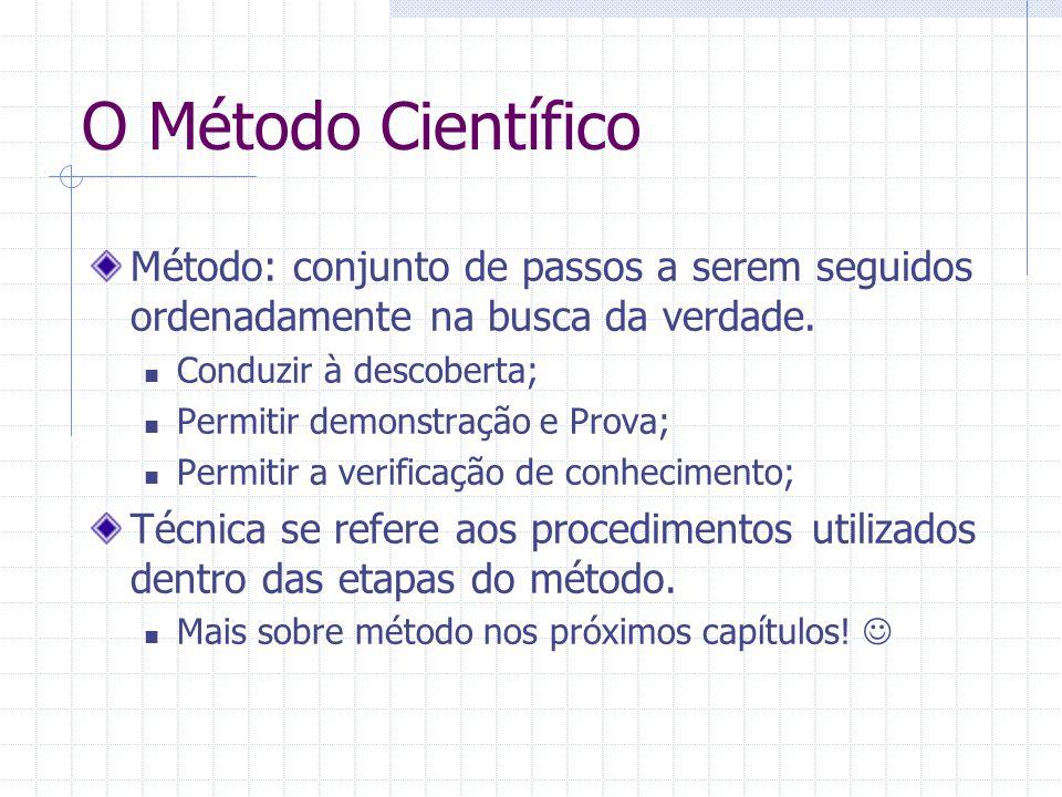 O Método Científico Método: conjunto de passos a serem seguidos ordenadamente na busca da verdade.
