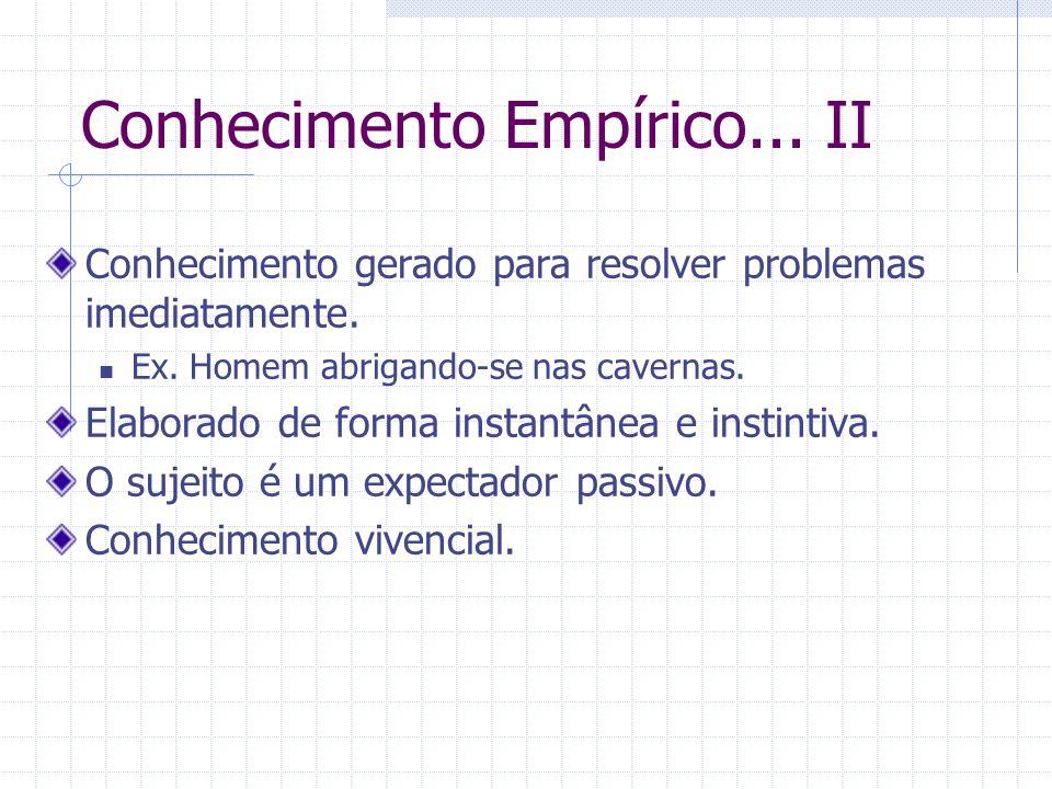 Conhecimento Empírico...II Conhecimento gerado para resolver problemas imediatamente.