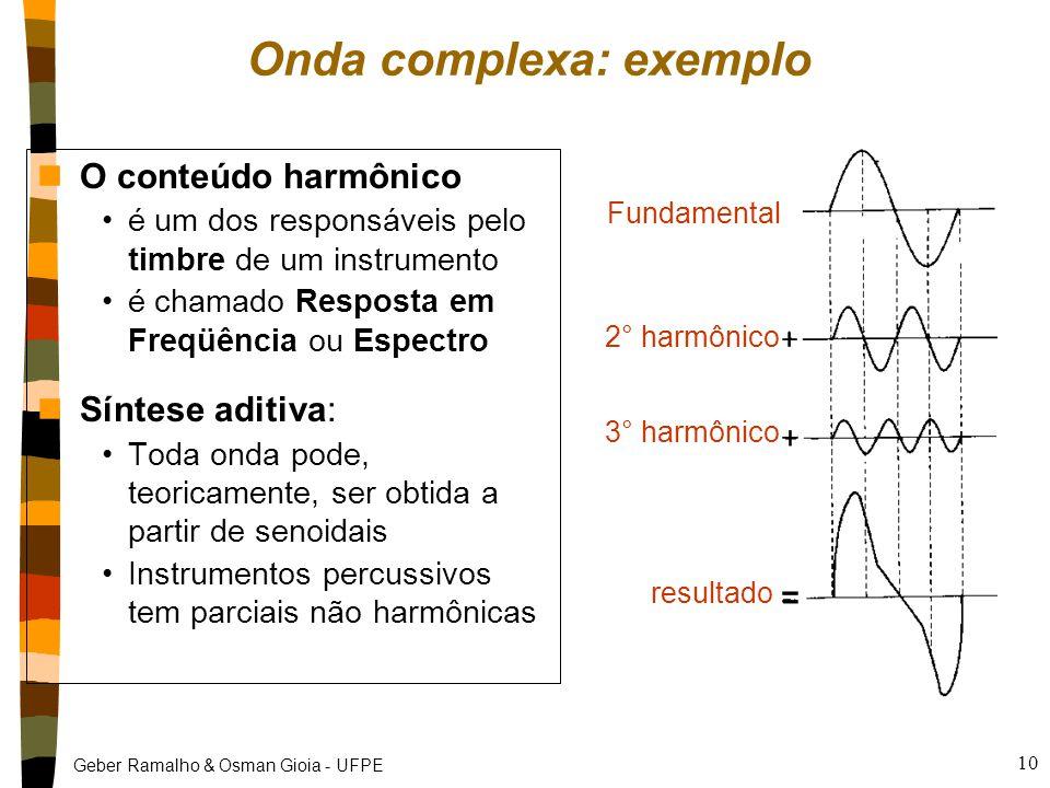 Geber Ramalho & Osman Gioia - UFPE 10 Fundamental 2° harmônico 3° harmônico resultado Onda complexa: exemplo nO conteúdo harmônico é um dos responsáveis pelo timbre de um instrumento é chamado Resposta em Freqüência ou Espectro nSíntese aditiva: Toda onda pode, teoricamente, ser obtida a partir de senoidais Instrumentos percussivos tem parciais não harmônicas