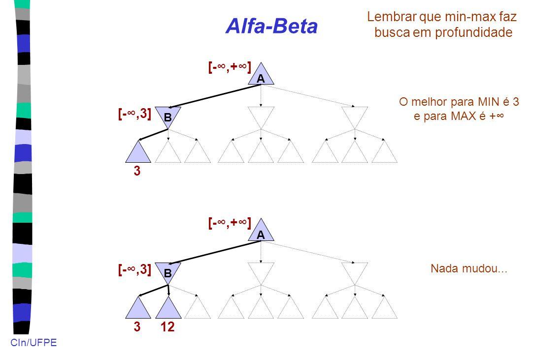 CIn/UFPE Alfa-Beta A B 3 Lembrar que min-max faz busca em profundidade [-∞,3] [-∞,+∞] O melhor para MIN é 3 e para MAX é +∞ 12 A B 3 [-∞,3] [-∞,+∞] Na