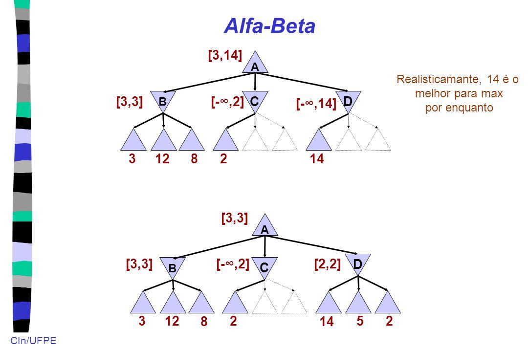 CIn/UFPE Alfa-Beta 12 A B 3 [3,3] [3,14] 8 2 [-∞,2]C Realisticamante, 14 é o melhor para max por enquanto D 14 [-∞,14] 12 A B 3 [3,3] 8 2 [-∞,2] C D 1