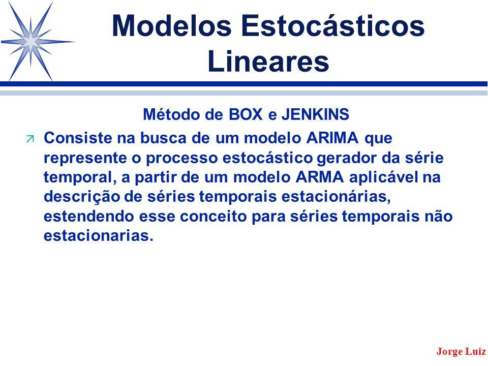 Modelos Estocásticos Lineares Método de BOX e JENKINS ä Consiste na busca de um modelo ARIMA que represente o processo estocástico gerador da série temporal, a partir de um modelo ARMA aplicável na descrição de séries temporais estacionárias, estendendo esse conceito para séries temporais não estacionarias.