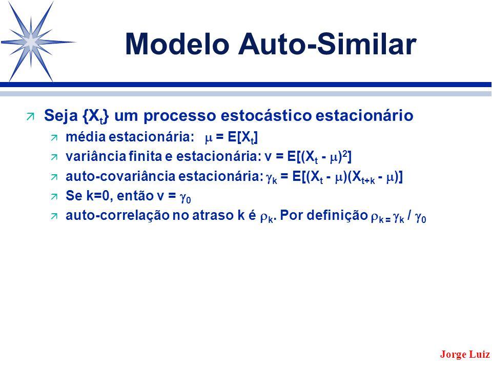 Modelo Auto-Similar ä Seja {X t } um processo estocástico estacionário ä média estacionária:  = E[X t ] ä variância finita e estacionária: v = E[(X t -  ) 2 ] ä auto-covariância estacionária:  k = E[(X t -  )(X t+k -  )] ä Se k=0, então v =  0 ä auto-correlação no atraso k é  k.
