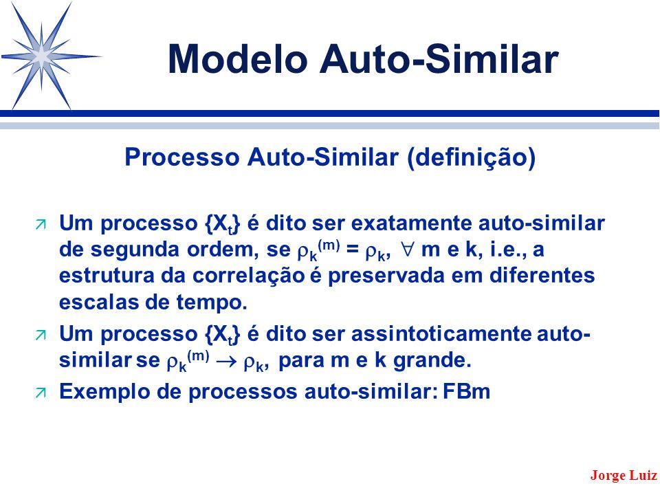Modelo Auto-Similar Processo Auto-Similar (definição) ä Um processo {X t } é dito ser exatamente auto-similar de segunda ordem, se  k (m) =  k,  m e k, i.e., a estrutura da correlação é preservada em diferentes escalas de tempo.
