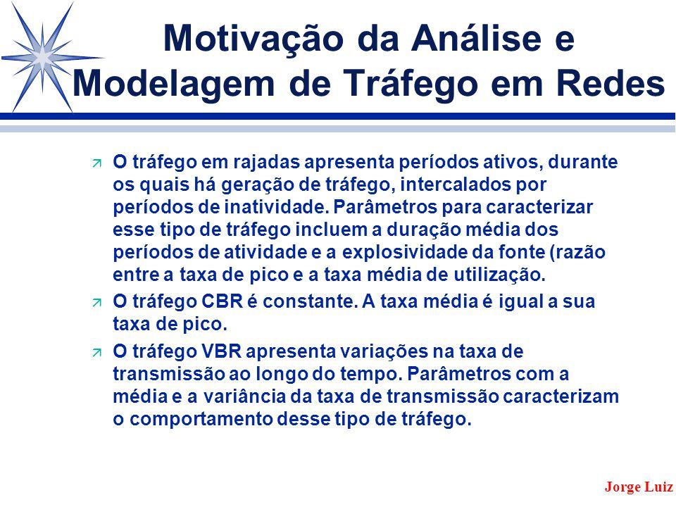 Motivação da Análise e Modelagem de Tráfego em Redes ä O tráfego em rajadas apresenta períodos ativos, durante os quais há geração de tráfego, intercalados por períodos de inatividade.
