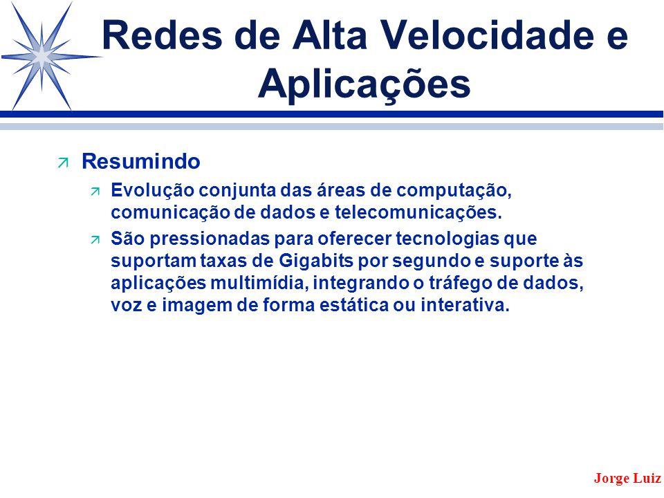 Redes de Alta Velocidade e Aplicações ä Resumindo ä Evolução conjunta das áreas de computação, comunicação de dados e telecomunicações.