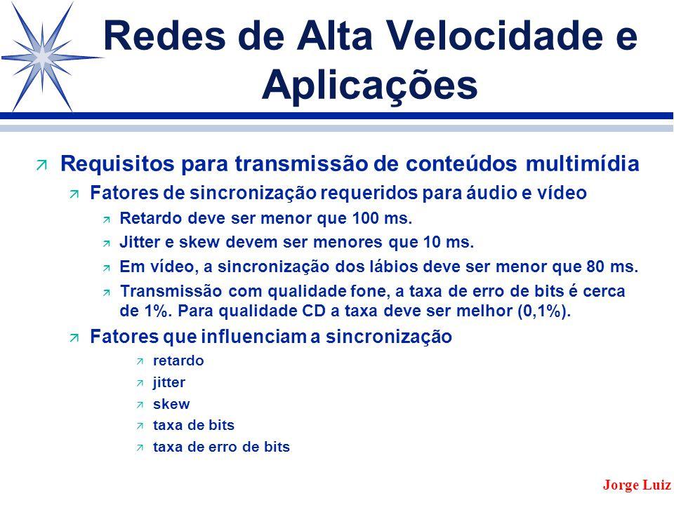 Redes de Alta Velocidade e Aplicações ä Requisitos para transmissão de conteúdos multimídia ä Fatores de sincronização requeridos para áudio e vídeo ä Retardo deve ser menor que 100 ms.
