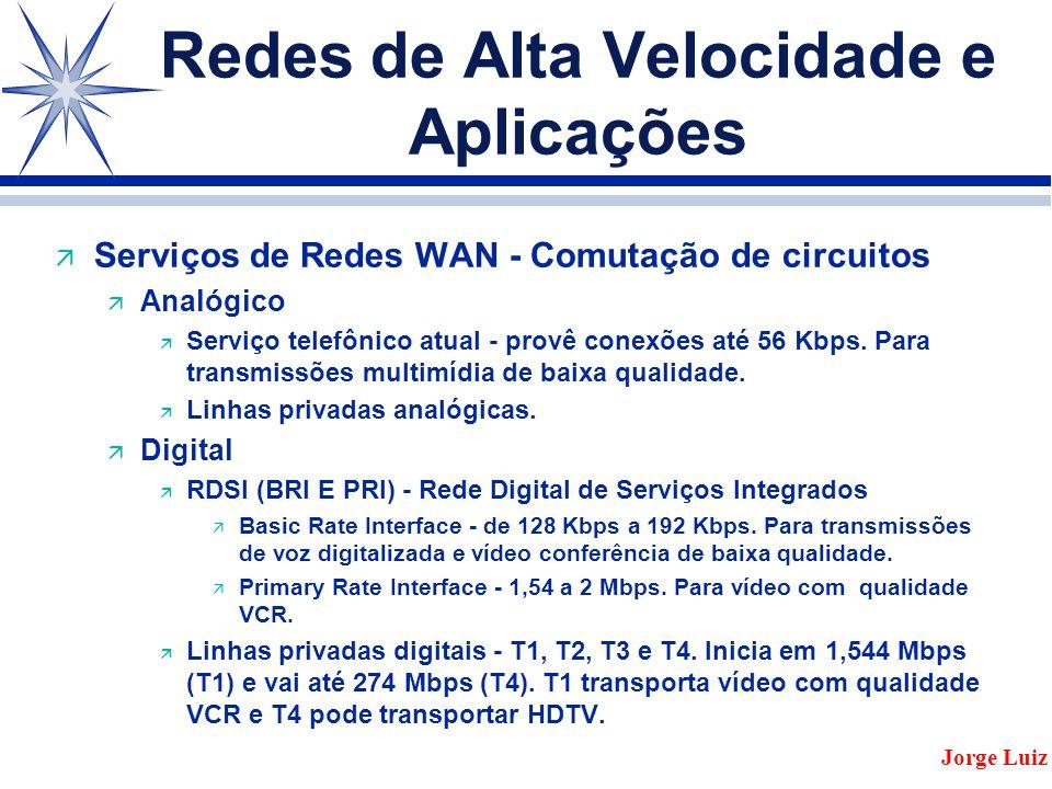 Redes de Alta Velocidade e Aplicações ä Serviços de Redes WAN - Comutação de circuitos ä Analógico ä Serviço telefônico atual - provê conexões até 56 Kbps.