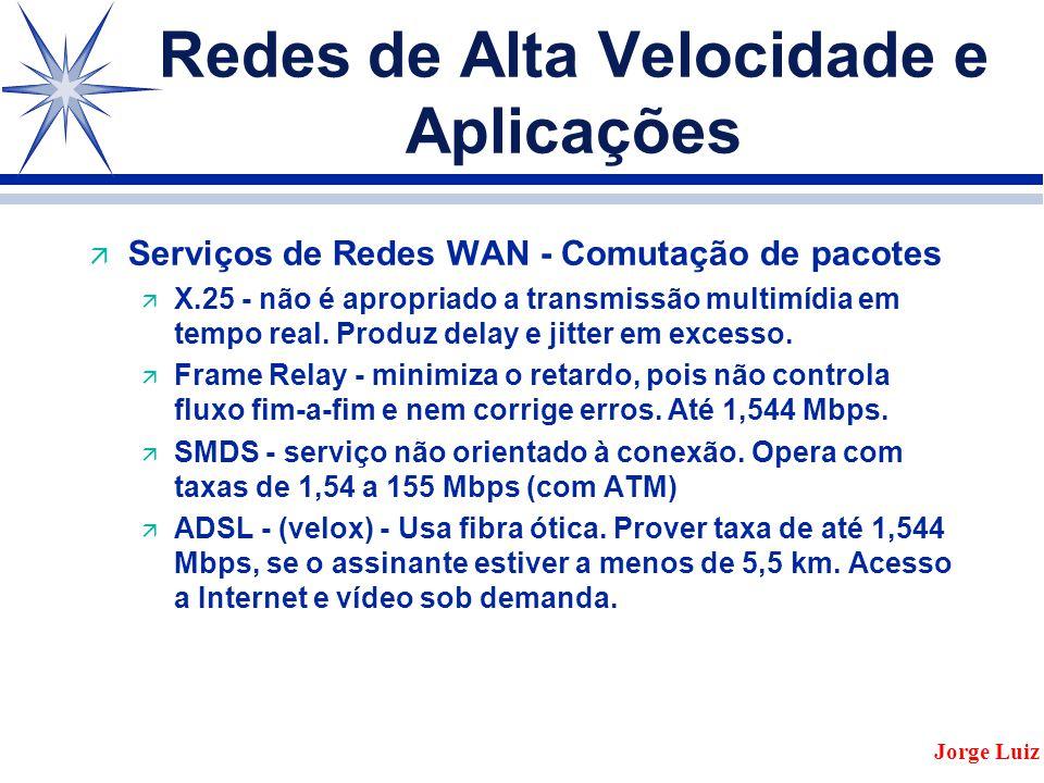 Redes de Alta Velocidade e Aplicações ä Serviços de Redes WAN - Comutação de pacotes ä X.25 - não é apropriado a transmissão multimídia em tempo real.