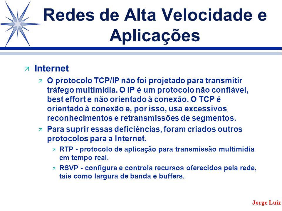 Redes de Alta Velocidade e Aplicações ä Internet ä O protocolo TCP/IP não foi projetado para transmitir tráfego multimídia.
