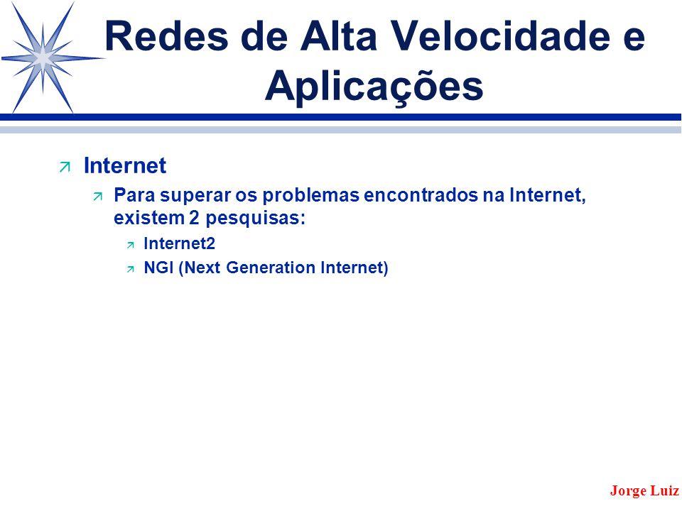 Redes de Alta Velocidade e Aplicações ä Internet ä Para superar os problemas encontrados na Internet, existem 2 pesquisas: ä Internet2 ä NGI (Next Generation Internet) Jorge Luiz