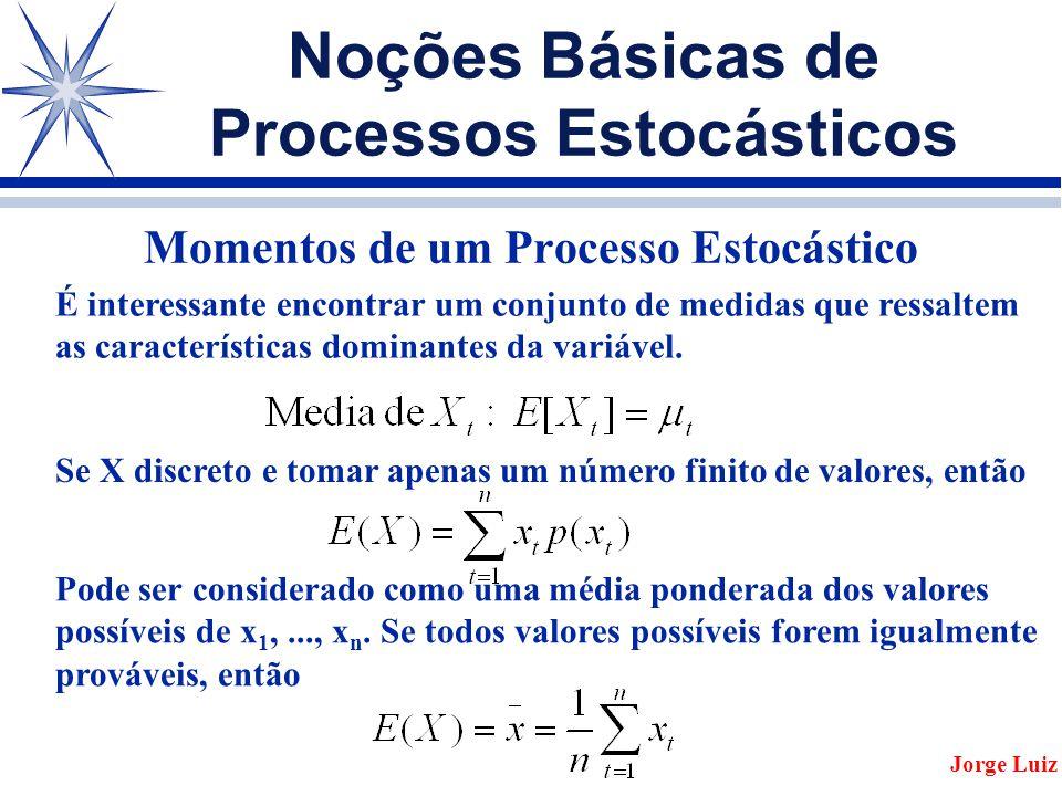Noções Básicas de Processos Estocásticos Jorge Luiz Momentos de um Processo Estocástico Pode ser considerado como uma média ponderada dos valores possíveis de x 1,..., x n.