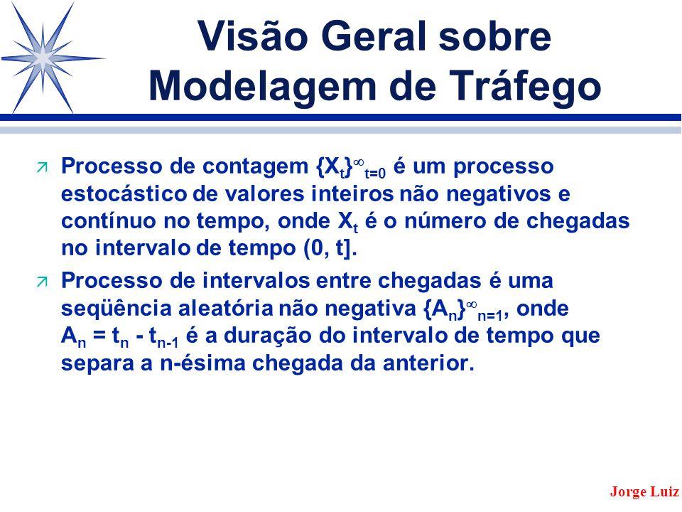 Visão Geral sobre Modelagem de Tráfego ä Processo de contagem {X t }  t=0 é um processo estocástico de valores inteiros não negativos e contínuo no tempo, onde X t é o número de chegadas no intervalo de tempo (0, t].