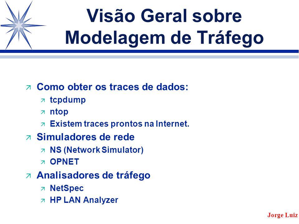 Visão Geral sobre Modelagem de Tráfego ä Como obter os traces de dados: ä tcpdump ä ntop ä Existem traces prontos na Internet.