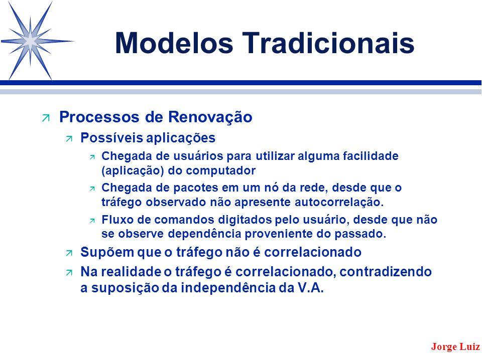 Modelos Tradicionais ä Processos de Renovação ä Possíveis aplicações ä Chegada de usuários para utilizar alguma facilidade (aplicação) do computador ä Chegada de pacotes em um nó da rede, desde que o tráfego observado não apresente autocorrelação.
