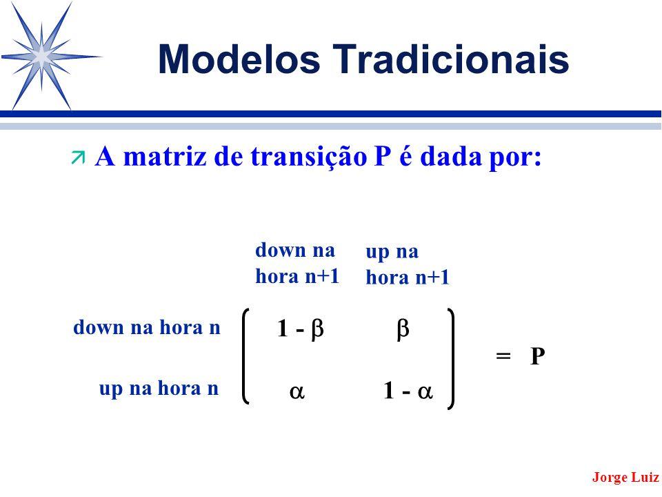 Modelos Tradicionais ä A matriz de transição P é dada por: Jorge Luiz 1 -    1 -  = P down na hora n up na hora n down na hora n+1 up na hora n+1