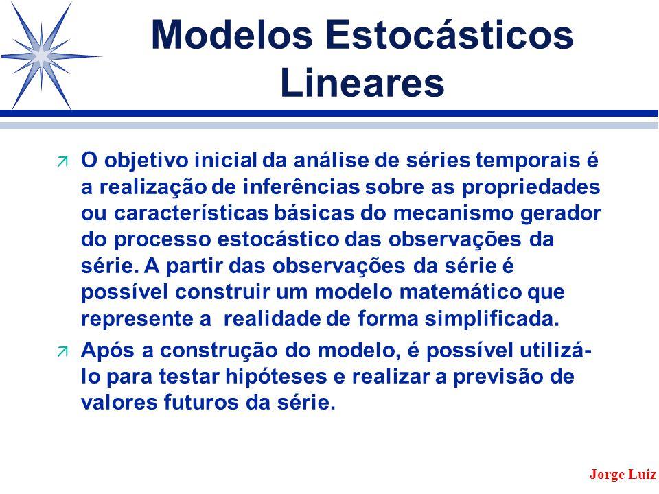 Modelos Estocásticos Lineares ä O objetivo inicial da análise de séries temporais é a realização de inferências sobre as propriedades ou características básicas do mecanismo gerador do processo estocástico das observações da série.