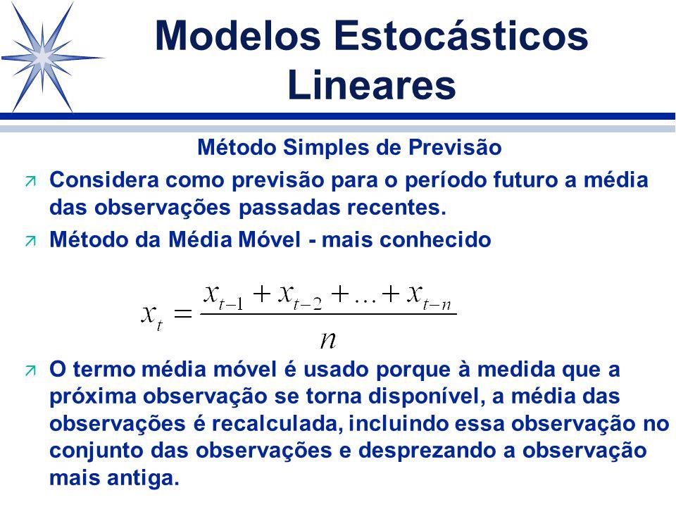 Modelos Estocásticos Lineares Método Simples de Previsão ä Considera como previsão para o período futuro a média das observações passadas recentes.